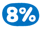 消費税のイラスト文字「8%」