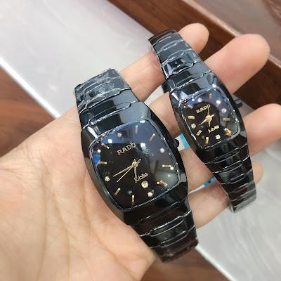 Đồng hồ nam mặt chữ nhật dây đá ceramic đen RD
