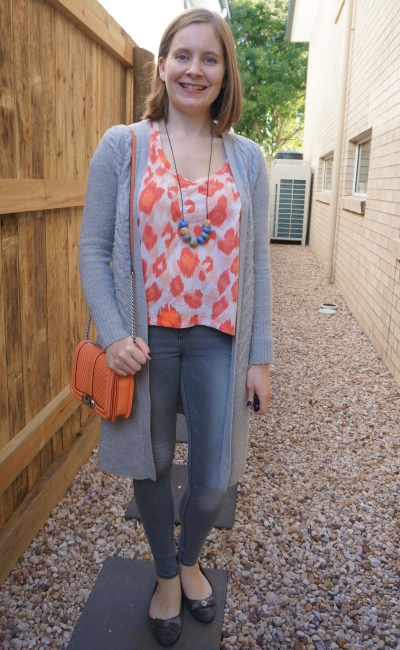 neon orange sass bide leopard print tee with grey wool maxi cardigan skinny jeans rebecca minkof love bag | awayfromblue