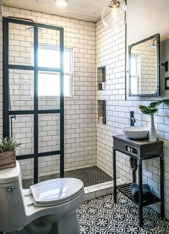 Combined with an industrial-style bathroom.