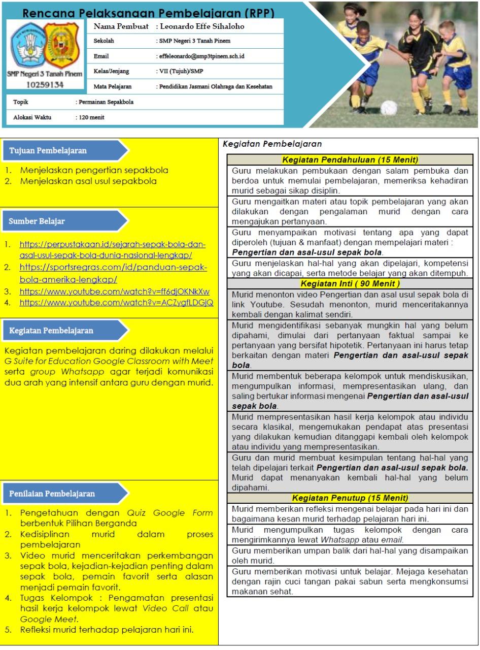 Contoh Rpp Smp Mts Kelas 7 Masa Pandemi Covid 19 Moda Daring Luring Dan Kombinasi Datadikdasmen