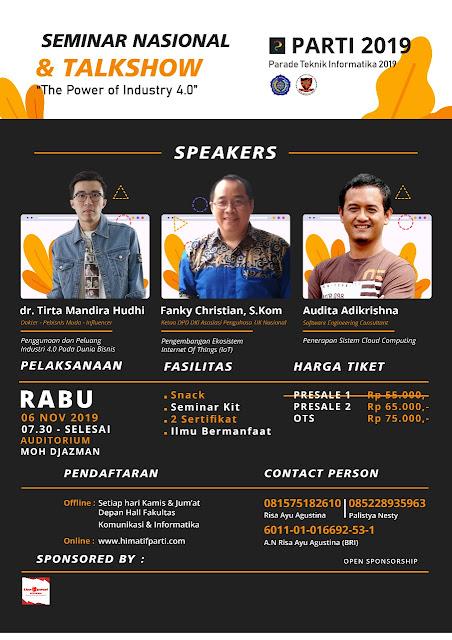 """TALKSHOW """"The Power of Industry 4.0"""" - 06 Nov 2019 - Surakarta"""