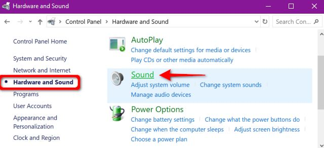 Hardware and sound menu in control panel Windows 10