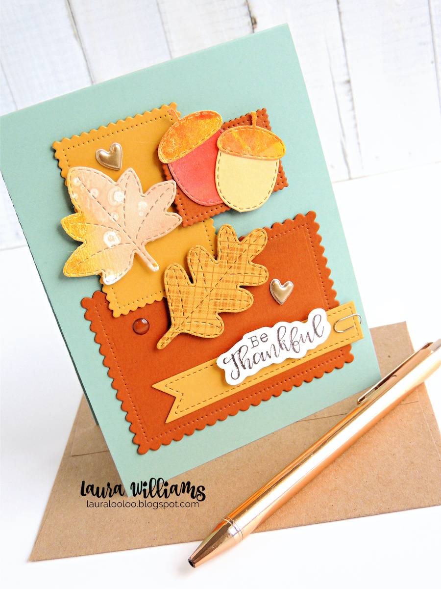 Make a cozy fall handmade card using dies from Impression Obsession. Click for ideas using nesting rectangle dies to make a collage style cardmaking idea.