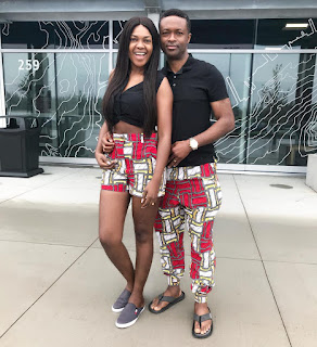 Omoni Oboli and her husband Nnamdi step out in matching #Ankara pants