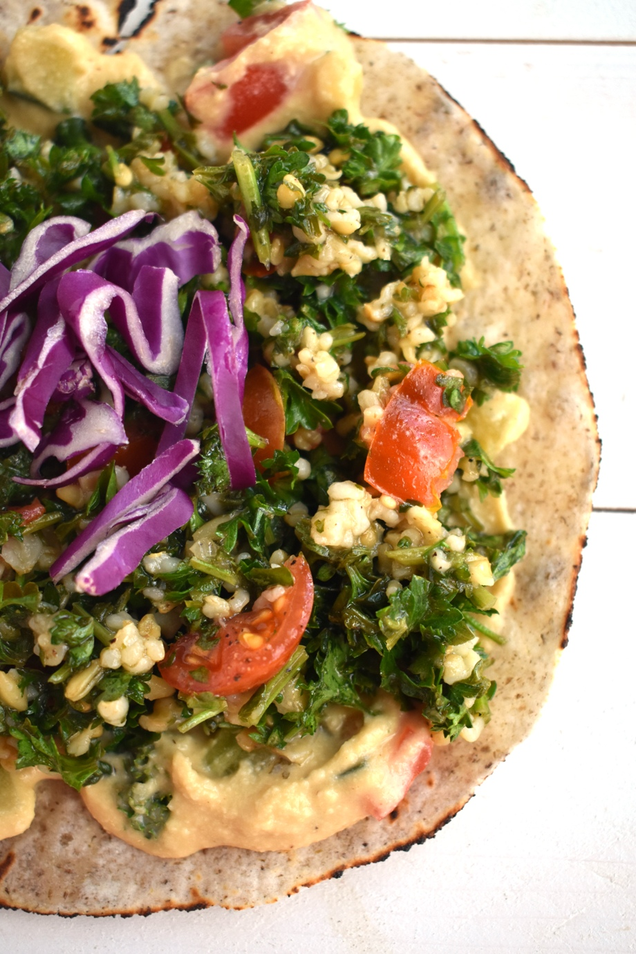 Hummus and tabbouleh wrap