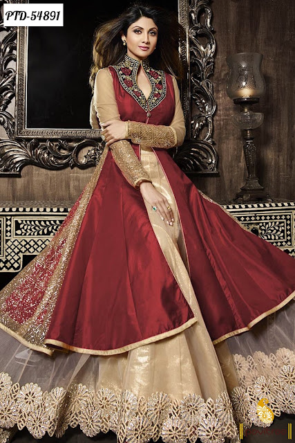 Mega discount offer sale on red Shipa Shetty beige chiffon anarkali salwar suit online shopping with free shipping