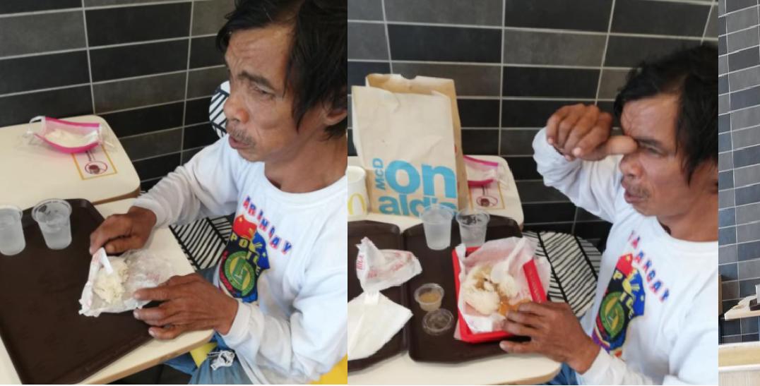 Lalaki, umorder lamang ng kanin at tubig, naiyak nang sorpresahin ng mga fastfood staffs