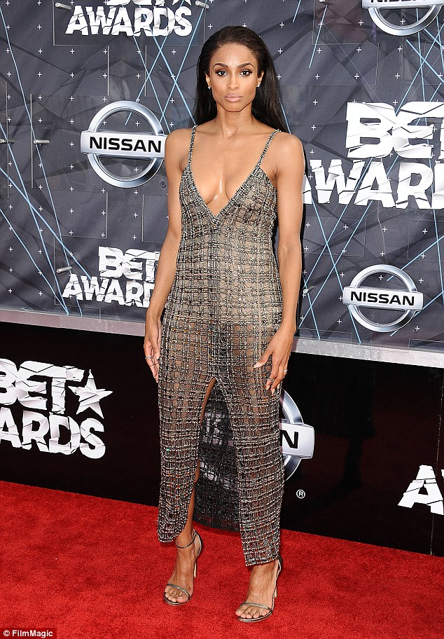 Ciara shows cleavage in a plunging dress at the 2015 BET Awards in LA