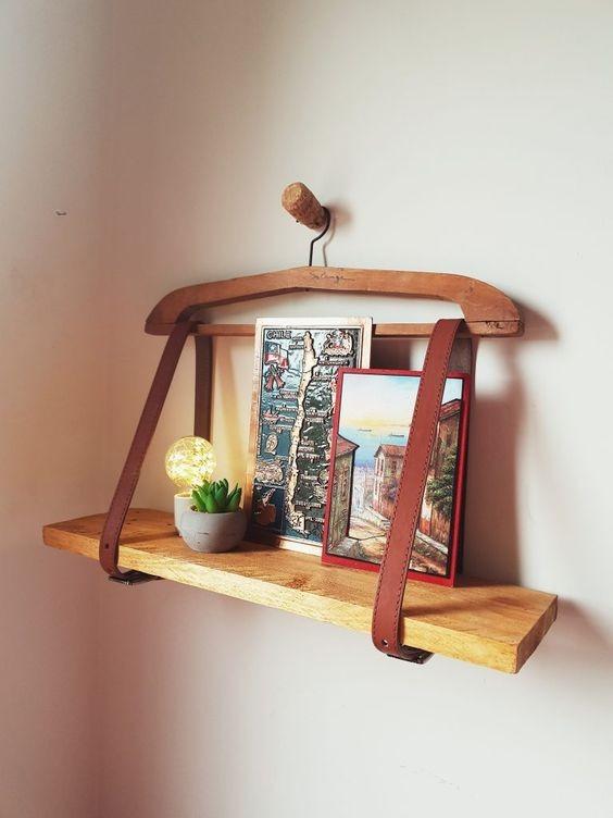 Shelf made of hanger and belt