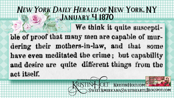 Kristin Holt | The Victorian-American Mother-in-Law. From New York Daily Herald of New York, NY on January 4, 1870.
