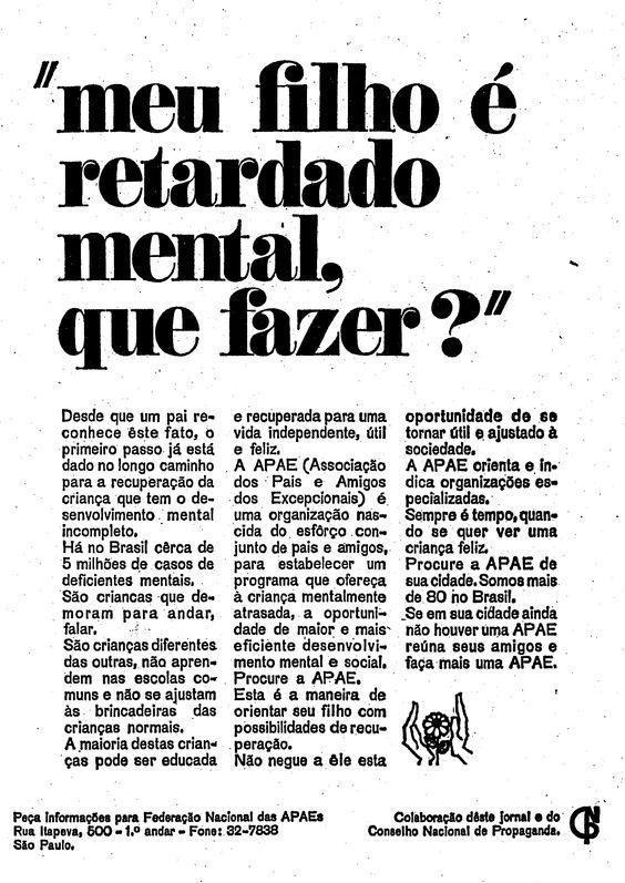 Propaganda antiga da APAE veiculada em 1967 apresentando os serviços prestados à sociedade