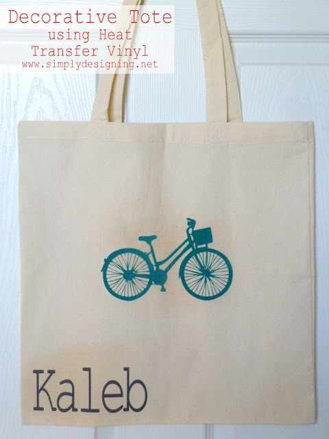 Decorative Tote using Heat Transfer Vinyl (flocked vinyl) - #vinyl #silhouette @SimplyDesigning
