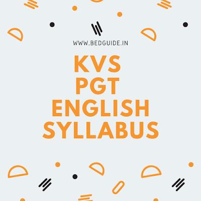 KVS PGT English Syllabus 2020 PDF Download