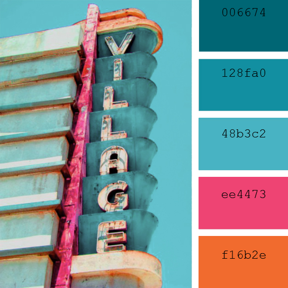 vintage neon lights, cyan colors summer color palette