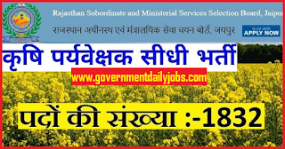 RSMSSB Recruitment 2018 notification out for 1832 Agriculture Supervisor Jobs