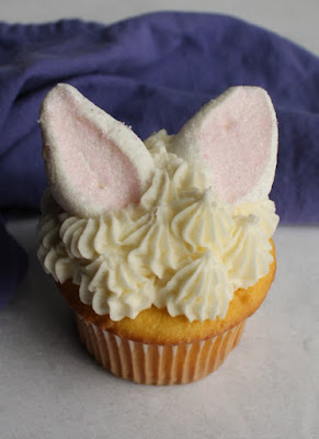 close up of cute cupcake with bunny ears