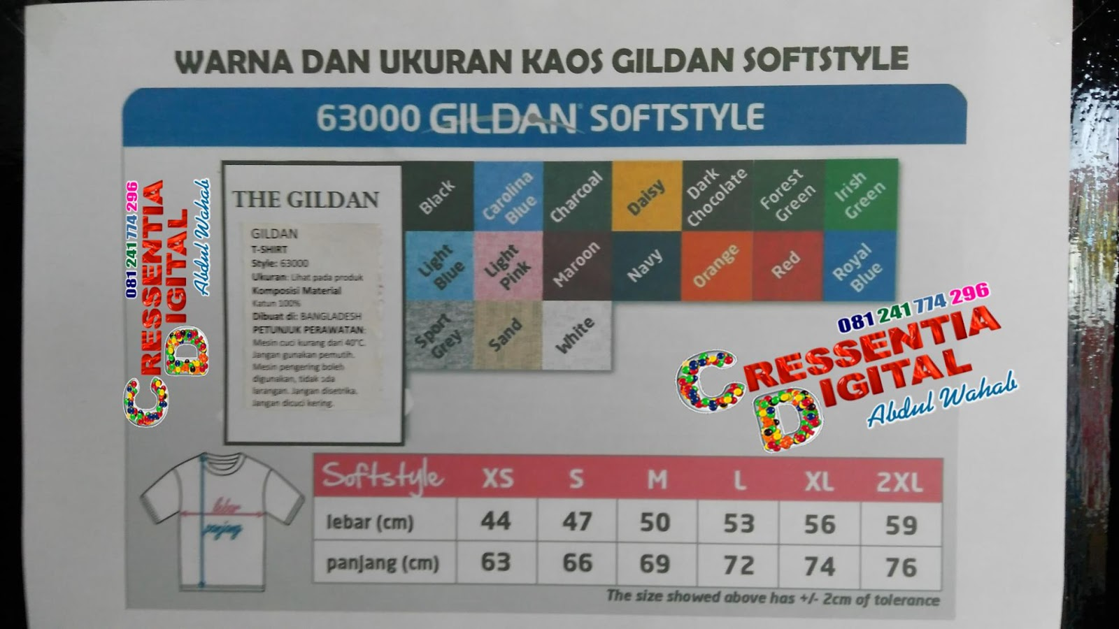 Ukuran Kaos Import Gildan