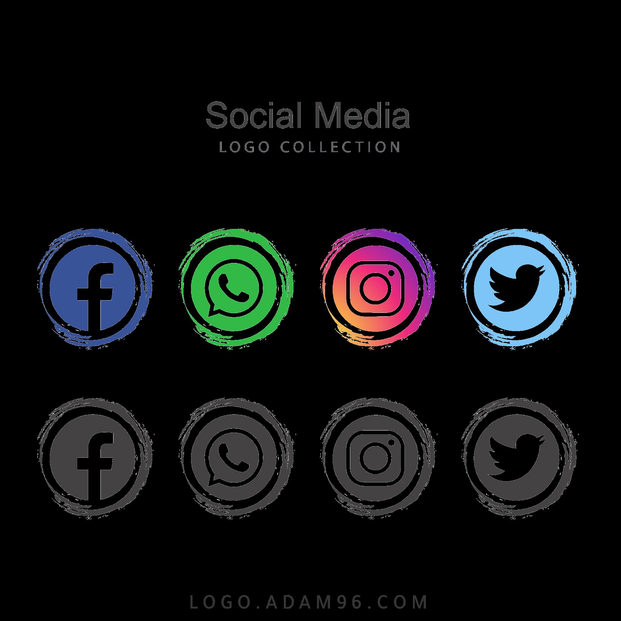 تحميل شعارات سوشيال ميديا فيس بوك تويتر انستغرام واتساب بجودة عالية PNG