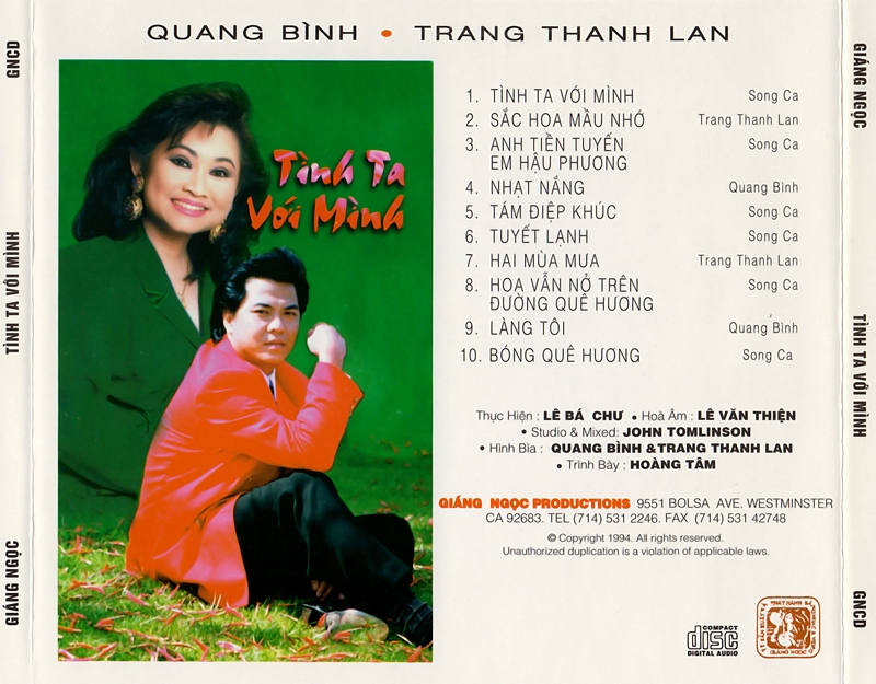 Giáng Ngọc CD - Quang Bình, Trang Thanh Lan - Tình Ta Với Mình (NRG) + bìa scan mới