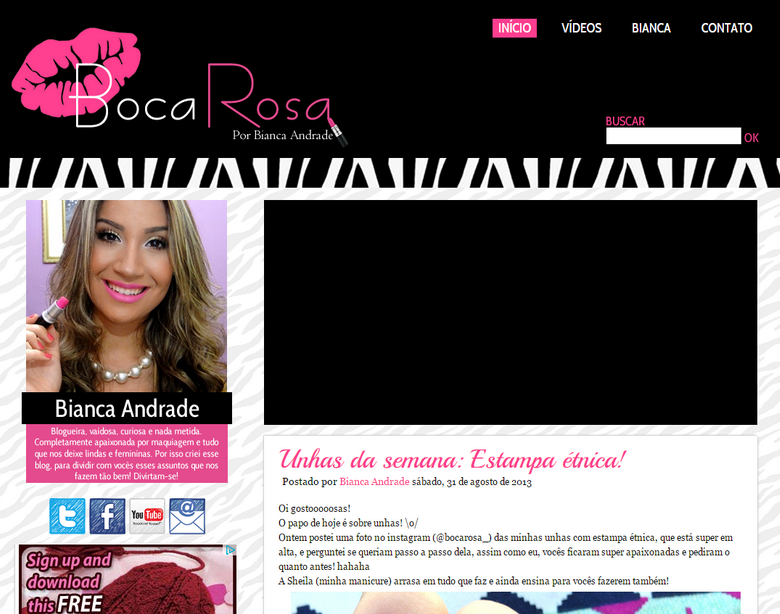 Layout antigo blog boca rosa