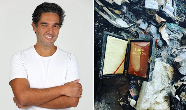 """Ator mostra Bíblia intacta em incêndio à sua casa: """"Símbolo da aliança com Deus"""""""