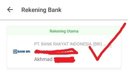 Pergantian Rekening Bank Berhasil (Tokopedia)