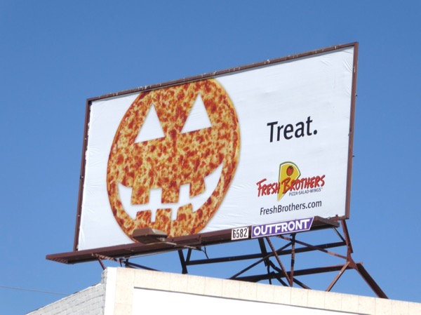 Fresh Brothers Pizza Halloween Treat billboard