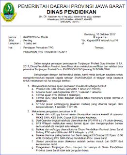 Format Pemberkasan Pencairan Tunjangan Profesi Guru (TPG) PNSD/ Non PNS Tahun Anggaran 2017 (TW III)