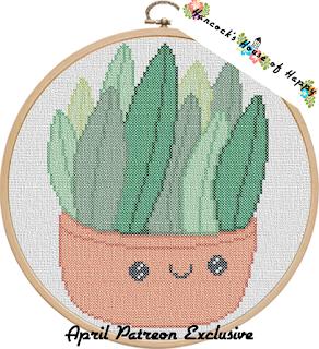 Kawaii Succulent Cross Stitch Pattern