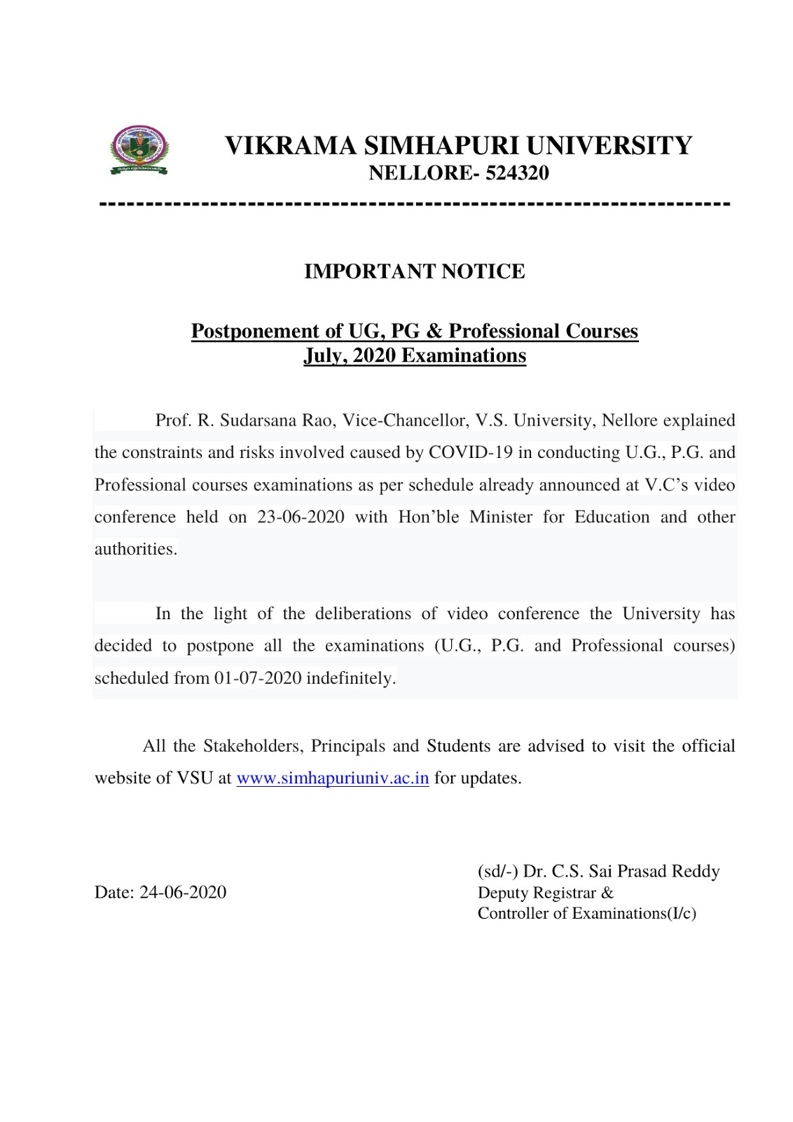 Vikrama Simhapuri University UG,PG & Professional Courses 2020 Postponed Exam Notification