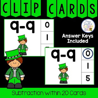 Subtraction Within 20 Clip Cards Leprechaun Themed
