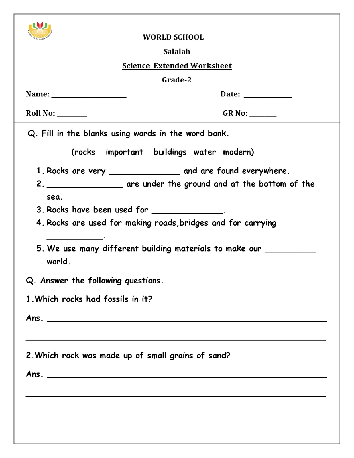 Birla World School Oman Homework For Grade 2 As On 25 02