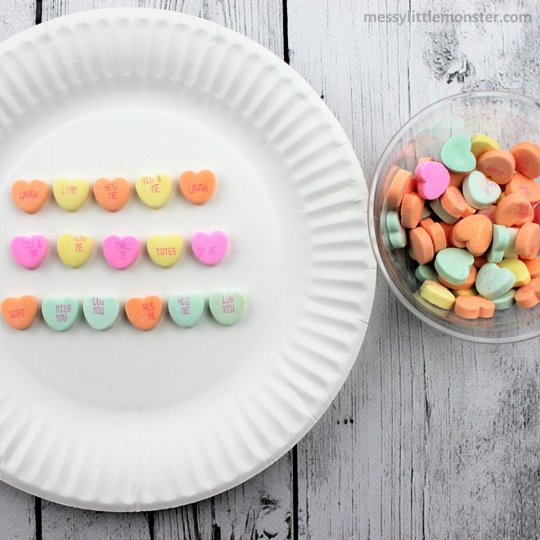 repeating pattern math activity using conversation hearts.
