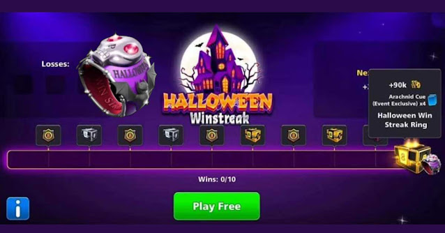 Halloween Win Streak 8 ball pool Free Cue And Ring