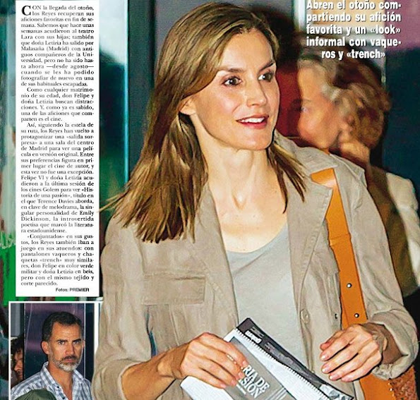 "King Felipe and Queen Letizia watched the new Terence Davies movie ""A Quiet Passion"" - Historia de una pasión- at Palafox cinema. Letizia wore Hugo Boss Sandals"