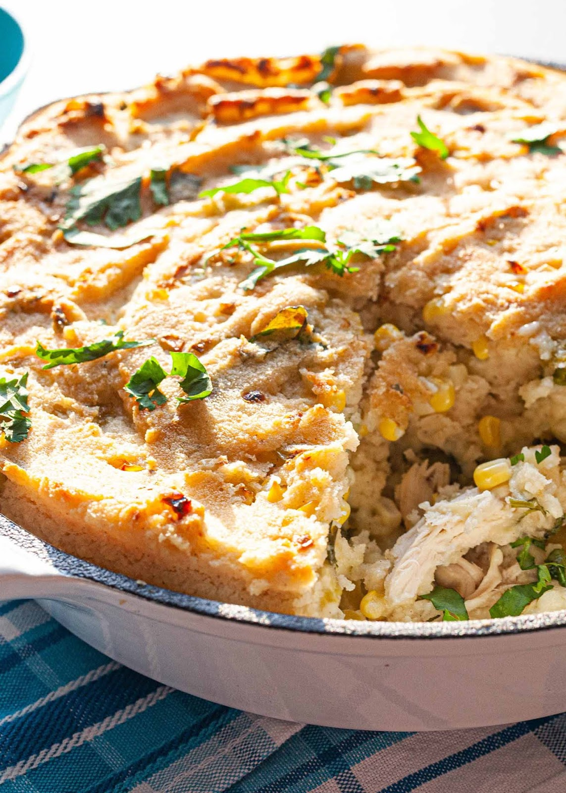 Tamale Pie with Chicken, Green Chiles, and Cheese