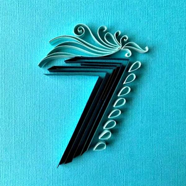 quilled on-edge paper seven