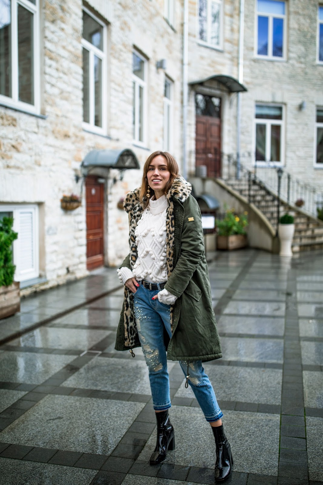parka jacket outfit sweater jeans heels