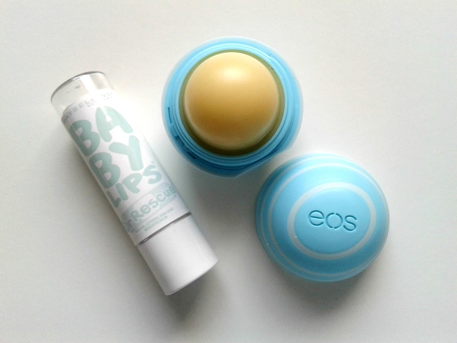 Dry Skin Maybelline Baby Lips Dr Rescue Medicated Lip Balm in Too Cool eos Vanilla Mint Lip Balm