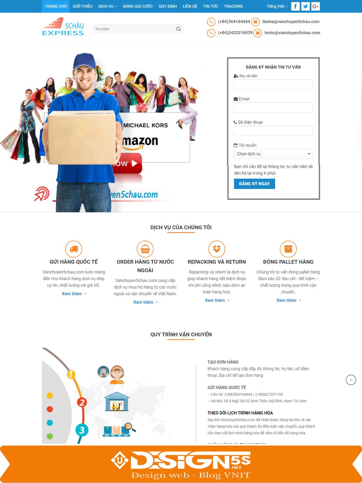 Mẫu Website công ty chuyển phát nhanh , vận chuyển 5 châu