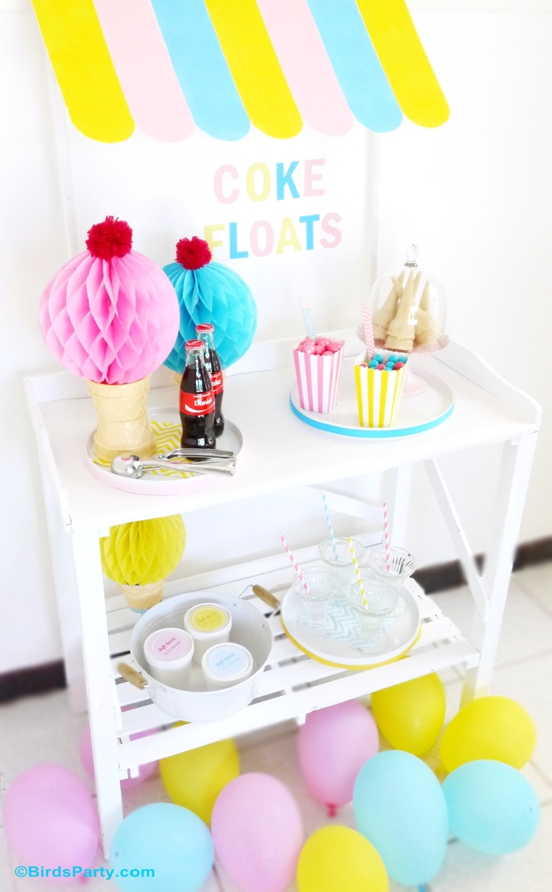 DIY Ice Cream Stand Awning for Your Party - BirdsParty.com