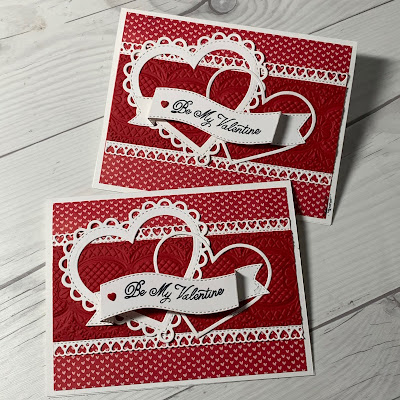 White hearts and sentiment banner on a Red Valentine's Day Card