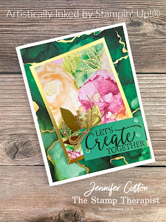 This gorgeous card uses Stampin' Up!'s Expressions in Ink Suite (Artistically Inked Bundle, Expressions in Ink 12x12 Specialty Designer Series Paper, & Expressions in Ink Ephemera Pack), Simply Elegant Trim, and Create With Friends million dollar stamp set.  Video, measurements, and supply list on the blog.  #StampinUp #ArtisticallyInked #StampTherapist