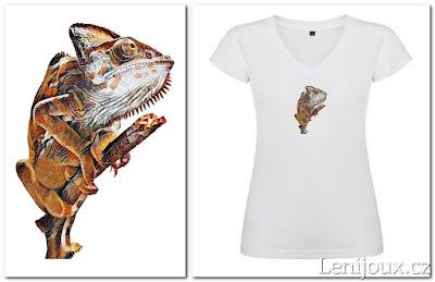 Chameleon - dámské tričko s potiskem v geometrickém stylu