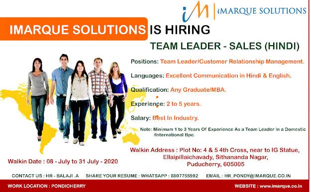 team leader jobs in pondycherry