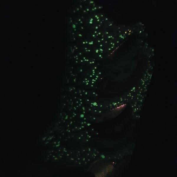 glow in the dark glitter ankle boots in dark room