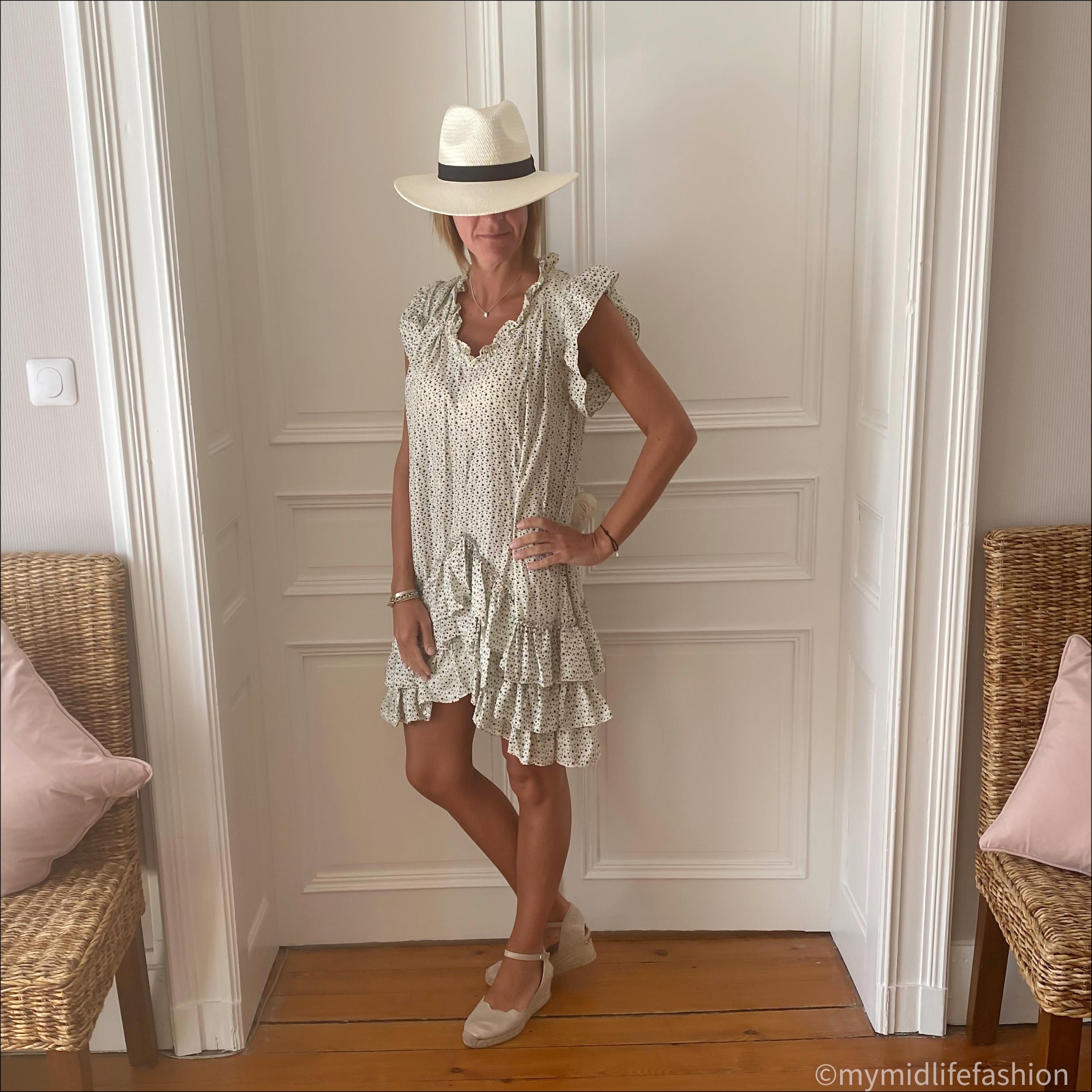 my midlife fashion, zara Panama hat, Isabel Marant Etoile silk star print ruffle summer dress, carl scrap Brittany nude sandals