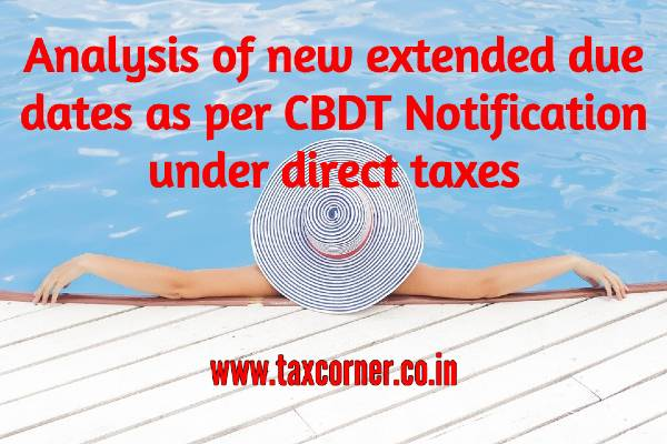 Analysis of new extended due dates as per CBDT Notification under direct taxes