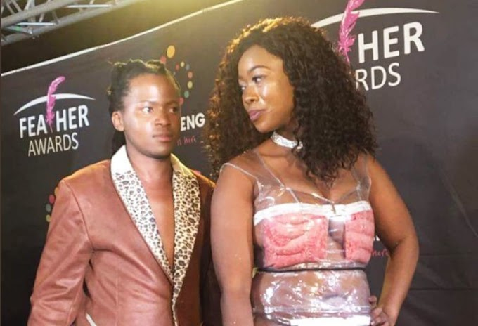 South African socialite wears see-through sausage dress on the red carpet